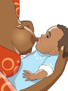 Brush your nipple against your baby's lips until the mouth opens wide.
