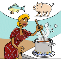 Eat only meat and fish that is well cooked. Be careful that roasted           meat, especially pork and fish, don't have raw parts inside. Raw pork carries dangerous diseases.