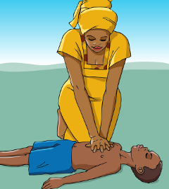 Chest compressions using two hands technique
