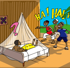 The kids think it's funny to sleep under a net to avoid getting malaria.