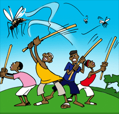 The boys plan to kill all mosquitoes in the village! But there are too many.