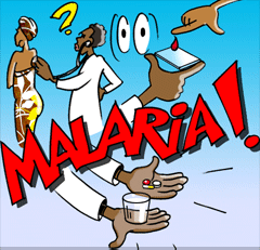 The doctor makes a blood test and gives Benta anti malaria pills.